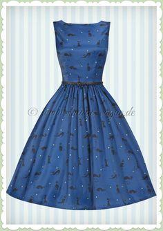 Lindy Bop 50er Jahre Rockabilly Petticoat Katzen Kleid - Audrey - Blau