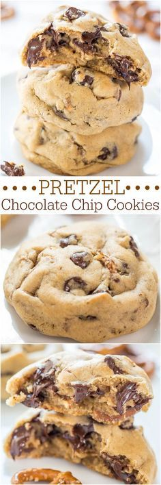Pretzel Chocolate Chip Cookies - Soft chocolate chip cookies packed with chocolate chips and crunchy pretzels!! Salty-and-sweet all in one!! Recipe by /averie/