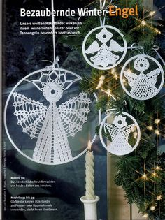 Christmas Crochet - Various - Chloe Taylor - Picasa Web Albums Christmas Angels, Christmas Holidays, Christmas Crafts, Christmas Decorations, Xmas, Christmas Ornaments, Holiday Decor, Crochet Snowflake Pattern, Crochet Snowflakes