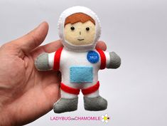 Cute miniature ASTRONAUT (COSMONAUT) magnet made from colorful felt fabric. This stuffed felt Astronaut is originally designed as a great home decor or adorable gift for your loved ones, educational for kids ,fun for all ages. The Astronaut can be made as a magnet, double sided
