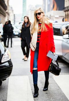 Joanna Hillman in a bright red coat // street style