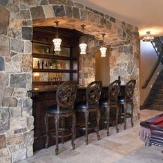 Interior : Awesome Classic Creation Encased In Stone Wall Small Basement Bars  Design Ideas With Perfect Bar Lighting Picture   A Part Of Excellent Mini  Bar ... Part 77