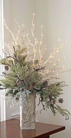 not necessarily Christmas, but for winter entry table, etc  #Christmas table #decoration