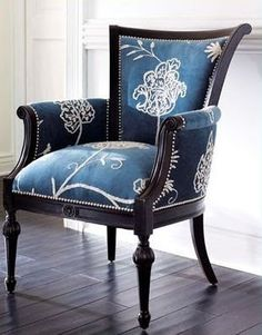 Neiman Marcus Blue Crewel Chair
