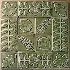 See by handmade tiles in the arts and crafts style, for sale, artisan made in the USA, using stoneware clay and fired to high temperature. Craftsman Bathroom, Craftsman Interior, Living Room Redo, Kitchen Living, Tile Art, Mosaic Art, Cottage In The Woods, Clay Tiles, California Art