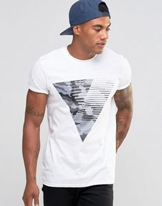 River Island T-Shirt In White With Camo Triangle Print