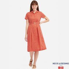 094369d99b9 Ines - robe chemise en coton imprimée manches courtes femme