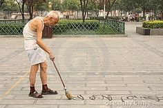 architecture sculptures chinese calligraphy | Chinese calligraphy: old man is writing Han characters on the ground ...
