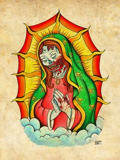 9960ce18c1bf3 Zombie Virgin Mary Neo-Traditional Old School Tattoo Flash Print on Tattoo