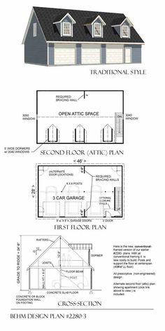Garage Plans With Loft - 2280-3 By Behm Design