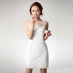 Lace,chiffon,hollow white vest dress!Price: US$ 46.47##-FashionTheBox.Com