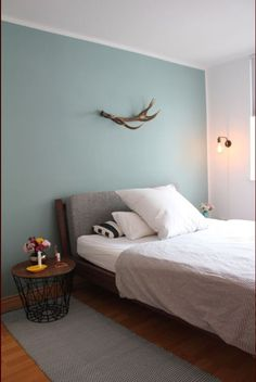Bedroom wall paint For boys - Home Decoration Duck Egg Blue Bedroom, Blue Bedroom Walls, Feature Wall Bedroom, Blue Rooms, White Bedroom, Bedroom Colors, Duck Egg Blue Grey, Farrow And Ball Bedroom, Oval Room Blue