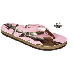 Duck Commander REALTREE AP Pink Camo Sandals found on Polyvore