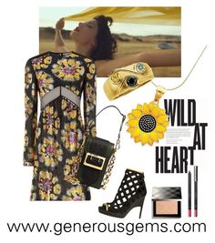 Wild at Heart by generousgems on Polyvore featuring Burberry #wildflower #sunflower #goldcharm #diamondring #colordiamond #diamond #jewelry #burberry @generousgems #beautiful