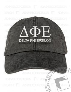 Delta Phi Epsilon - Embroidered Hat in 4 colors  by ABD BlockBuy! Less than $26 each plus shipping | Adam Block Design | Custom Greek Apparel & Sorority Clothes | www.adamblockdesign.com