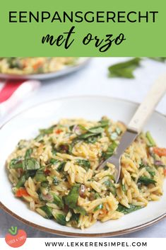One pan dish with orzo - ready in 25 minutes! - Tasty and Simple - One pan dish with orzo – ready in 25 minutes! A tasty recipe from Italian cuisine with tomato, sp - Veggie Recipes, Pasta Recipes, Vegetarian Recipes, Healthy Recipes, Healthy Food, I Love Food, Good Food, Yummy Food, Tasty