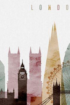 Londen aquarel print aquarel poster kunst aan de muur