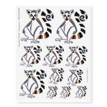 Ring-tailed lemur design as temporary tattoos. From WildthingsWorldWide range of endangered animal merchandise with 25% of sales donated to animal welfare organisations. See website for over 40 animal designs. www.wildthingsworldwide.com.au