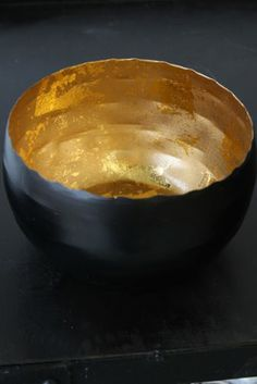 Black and Gold Hammered Metal Bowl