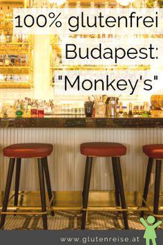 Glutenfrei in Budapest. Das Monkey's ist eines der 100% glutenfreien Restaurants in Budapest. Glutenfreie Burger, Glutenfreie HotDogs, glutenfreie Wokgerichte stehen auf der Speisekarte. Für Vegetarier und Fleischliebhaber findest sich etwas.  Wer mit Zöliakie nach Budapest reist ist im Monkey's bestens aufgehoben! Budapest, Burger Restaurant, Bar Stools, Gluten Free, Restaurants, Free Travel, Travel Tips, Hotels, Lifestyle
