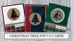 Learn how to create a little pop up Christmas tree using a punch or die cut shape. And learn 3 different ways to use them in your holiday card making cards 3 Pop Up Christmas Tree Card Ideas Cool Christmas Trees, Stampin Up Christmas, Christmas Cards To Make, Xmas Cards, White Christmas, Holiday Cards, Christmas 2019, Holiday Ideas, Christmas Gift Card Holders