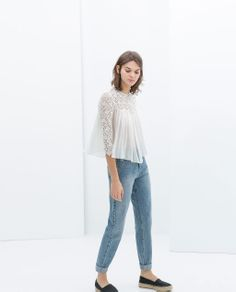 $49   COMBINATION LACE TOP from Zara