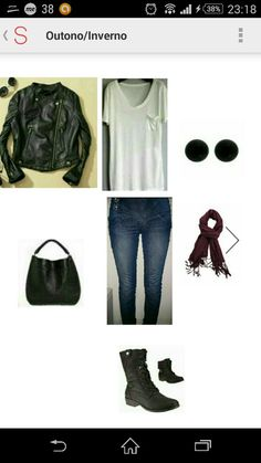 Outono/Inverno #cachecolbordo #jaqueta couro preta#jeans #bota