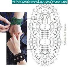 Crochet Cuff Bracelet Wrist Band Jewelry Free Chart Patterns