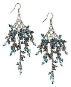 c.A.K.e. by Ali Khan Earrings, Hematite-Tone Ombre Peacock Glass Bead Shower Chandelier Earrings - Fashion Jewelry - Jewelry & Watches - Macy's