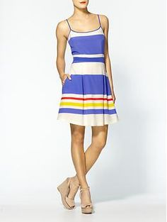 Love the use of stripes in this color-blocking Juicy Couture Fiji Stripe Silk Dress | Piperlime