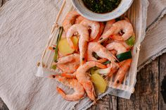 Chinese Boiled Shrimp with Ginger Scallion Dipping Sauce