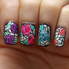 Stained Glass Roses nail art.