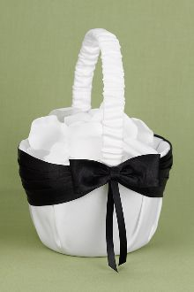 104 best flower girl baskets in white ivory images on pinterest lasting radiance black and white flower girl basket white satin basket with black pleated ribbon and bow petal not included mightylinksfo