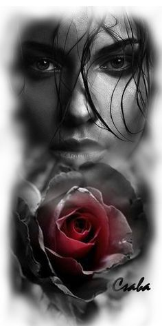You can paint this picture. A girl in black and white then A red rose is colour red. It is a gift of art to see her face of hope. Chicanas Tattoo, Real Tattoo, Leg Tattoos, Body Art Tattoos, Girl Tattoos, Sleeve Tattoos, Realistic Tattoo Sleeve, Greek God Tattoo, Skull Art