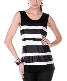 Love this Black & White Stripe Layered Tank - Women by Jasmine on #zulily! #zulilyfinds