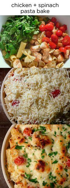 Chicken & Spinach Pasta Bake http://www.joyouslydomestic.com/2013/04/chicken-and-spinach-pasta-bake.html