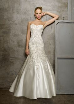Bridal Gown From Mori Lee By Madeline Gardner Dress Style 2512 Duchess Satin with Embroidery