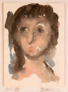 George Bouzianis Frauline Bild 28 x cm. x 8 in. Face Art, Art Faces, Greek Art, Portrait, Expressionism, Painters, Figurative, Watercolors, Artwork