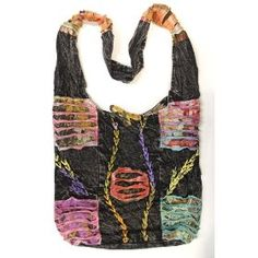 Reversable Black Handcrafted Razor Cut Heavy Cotton Bohemian / Hippie / Gypsy Shoulder Bag Nepal $23.93