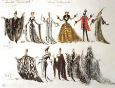 """Anthony Powell's costume designs for Norma Desmond in """"Sunset Boulevard"""""""