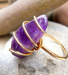 Amethyst Ring Purple Wrapped FreeForm Modernist by RenaissanceFair, $28.50