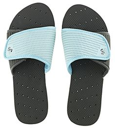 Showaflops Womens Antimicrobial Shower  Water Sandals  BlackTurquoise Slide 1112 *** Continue to the product at the image link.