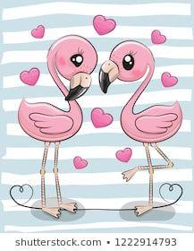 Two Cartoon Flamingos on a blue background. Two Cute Cartoon Flamingos on a blue background stock illustration Cartoon Cartoon, Cute Cartoon Drawings, Cute Cartoon Girl, Cute Cartoon Animals, Kawaii Drawings, Animal Drawings, How To Draw Flamingo, Flamingo Art, Flamingo Wallpaper