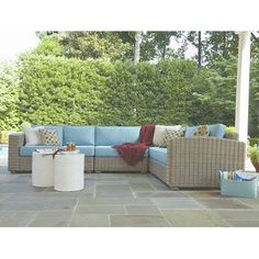 ElanaMar Designs Monaco Sectional with Cushions Finish: Driftwood, Fabric: Foster Surfside