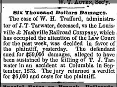 J.T. Tarwater, deceased vs. Louisville & Nashville Railroad Company
