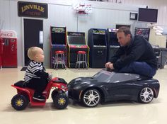 Kevin Harvick and his son Keelan.