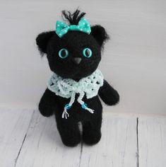Black kitten Crochet cat Interier toy Amigurumi Soft plush cat Fluffy cat Collectible Cute kitten Miniature cat Little cat OOAK