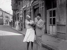 Very rare picture of Najib Rihany with American star Josephine Baker Imad al-Din Street during her visit to Egypt in 1945