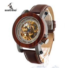f690deb3ef8 BOBO BIRD Luxury Brand Men s Mechanical Watches Genuine Leather Strap Wrist  Watch relogio masculino Wooden Watch