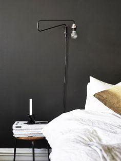 Black bedroom wall - via Coco Lapine Design.love the lamp Home Bedroom, Bedroom Wall, Bedroom Decor, Budget Bedroom, Bedroom Black, Bedroom Lighting, Bedroom Ideas, Black Bedrooms, Gothic Bedroom